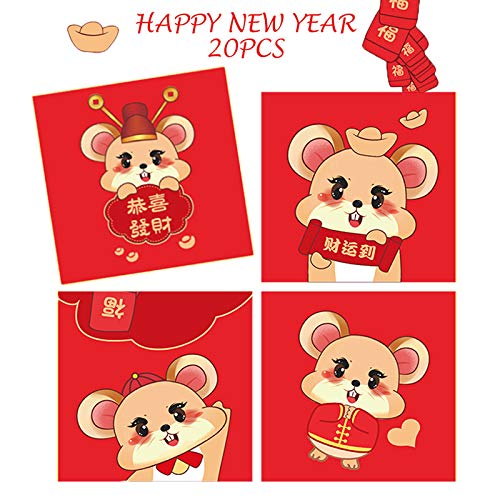 Chinese Red Envelopes, Lovely Mouse Red Packets with 4 Designs Hongbao Lucky Money Envelopes, JmYo 20pcs Chinese 2020 Lunar Pig Year Lai See for New Year, Birthday, Weddings