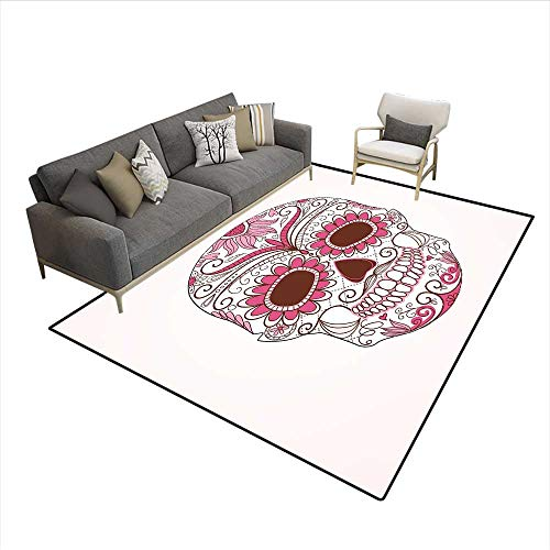 - Floor Mat,Mexican Ornaments Calavera Catrina Inspired Folk Art Macabre,Area Carpet,Pink Light Pink White 6'6