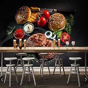 Empanada de carne asada y hamburguesa personalizada Papel tapiz 3D ...