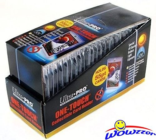 Box of (25) Ultra Pro One Touch Magnetic Card Holders # 81909UV (Fits up to 55pt Card). Holds Standard Size Baseball, Football, Sports Cards, Gaming & Trading Cards Collecting Supplies! (Ultra Pro Baseball Card)