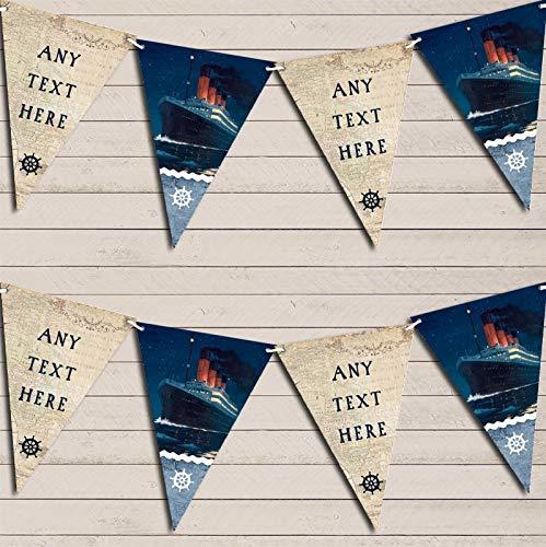 ヴィンテージ 海の地図 海 船 タイタニック パーソナライズ 誕生日 旗 ガーランド バナー デコレーション L L  B07H6M9HJ7