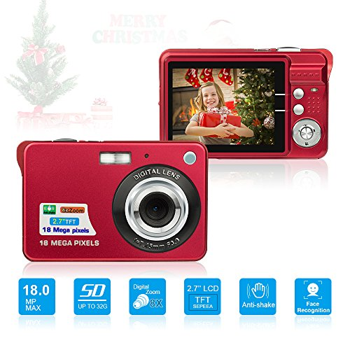 HD Mini Digital Camera with 2.7 Inch TFT LCD Display,Digital Point and Shoot Camera Video Camera Red–Christmas Gift