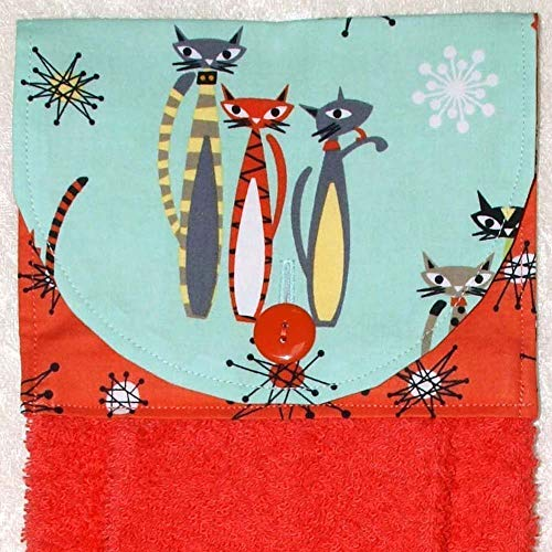 Hanging Hand Towel - Mod Cats On Aqua & Coral Starburst Accent Fabric - Plush Coral Kitchen Towel - Aqua Cat Dish