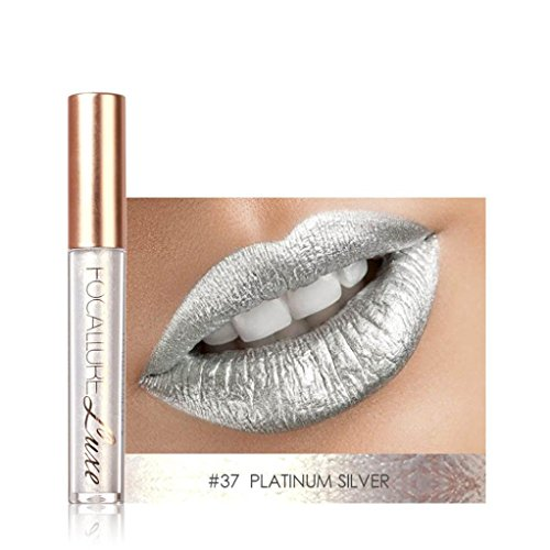 Lucoo FOCALLURE New Fashion Lipstick Cosmetics Women Sexy Lips Metallic Lip Gloss (A)