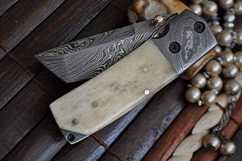 Custom Tactical Liner Lock Knife (Custom Made Damascus Folding Knife Tanto Blade)