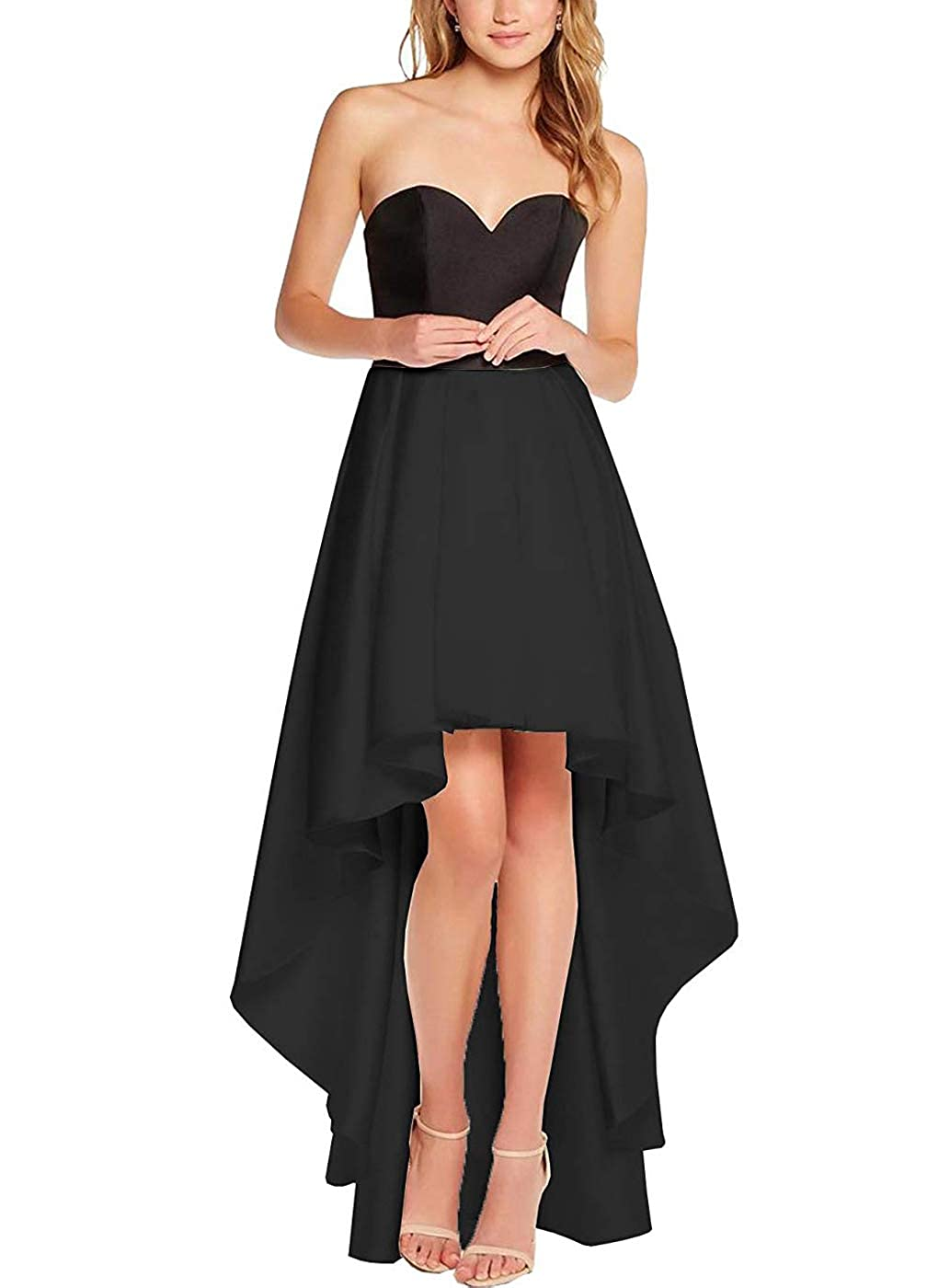 Black purpleDresses Women's High Low Satin Prom Dress Sweetheart Formal Party Prom Cocktail Gown