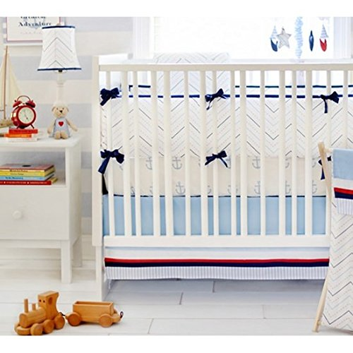 My Baby Sam First Mate 3 Piece Crib Bedding Set, Blue/Navy/Red/White (Blue And Red Baby Bedding)