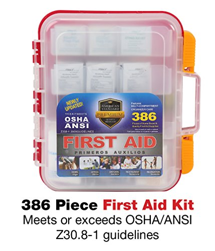 386 Piece First Aid Kit with Hard Red Case Exceeds OSHA & ANSI Standards, Mounts on Wall, 2 Levels of Supplies, Multiple Compartments, Includes Big Variety of Bandages, Alcohol Pads & Hundreds (Osha Alcohol)