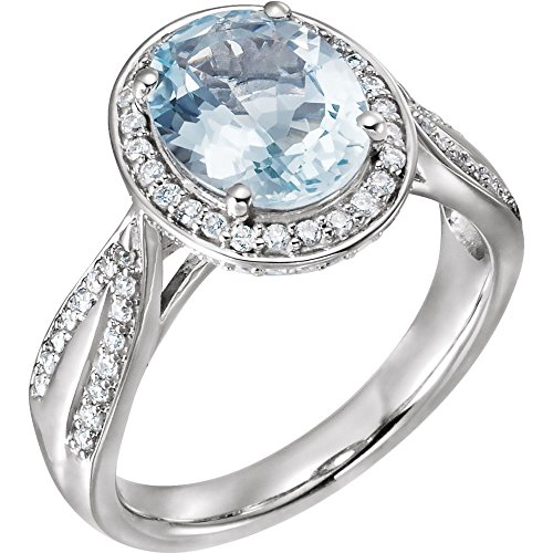 14k White Gold 0.38 Dwt 10x8mm Polished Gen Aquamarine and Diamond Ring - Size 6.5 ()