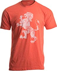 A unisex t-shirt with a professionally applied screen print. Fabric is soft, blended material - lightweight, silky, and fashionable. Ink has faded, distressed vintage look..