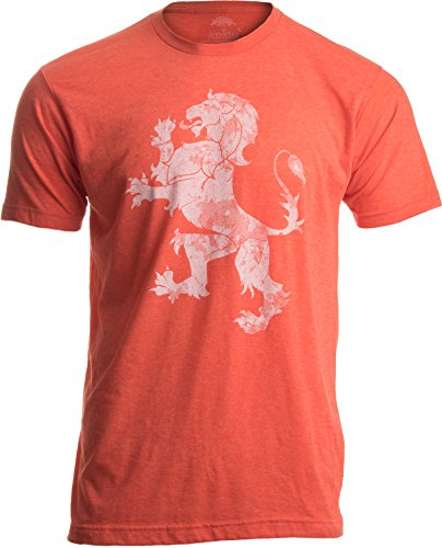Dutch Pride | Vintage Style, Retro-Feel Netherlands Lion & Flag Unisex T-shirt-Adult,L Heathered Orange