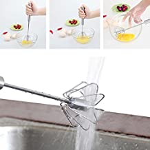 NPLE--Stainless Steel Manual Self Turning Miracle Push Magic Whisk Mixer Egg Beater SH