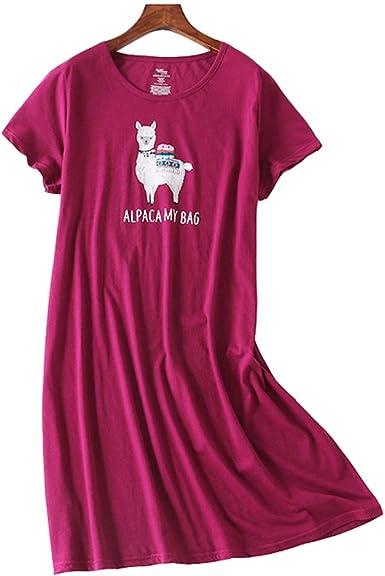 Camison Mujer Algodon Verano Manga Corta Elegante camisón de Verano Pijamas Mujer algodón Talla Grande Pijama: Amazon.es: Ropa y accesorios