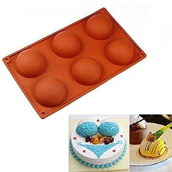 Allforhome 6 moldes semicírculos de silicona para pastel para hornear, moldes de copa para hornear magdalenas, moldes para jabón hechos a mano: Amazon.es: ...