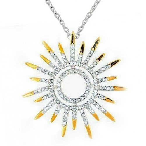 Two Tone Sun Pendant - Bling Jewelry Sunburst Sun Motif Pendant Necklace Two Tone Clear CZ with Gold Plated 925 Silver 16.5 Inch