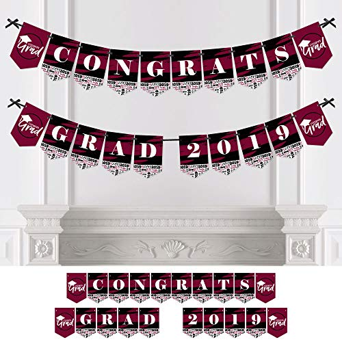 Maroon Grad - Best is Yet to Come - Burgundy Graduation Party Bunting Banner - Party Decorations - Congrats Grad 2019
