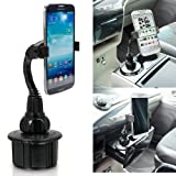 """ChargerCity NEW 8"""" Flexible Neck Versatile Car Vehicle Cup Holder Mount for Apple iPhone 6 5 Plus Galaxy S6 S5 Note 4 LG G4 G3 (BONUS- Remove the cable catcher on holder to attach itself directly to Tripod to record video and picture taking)"""
