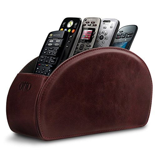 Otto Remote Control Holder with 5 Pockets - Store DVD, Blu-Ray, TV, Roku or Apple TV Remotes - Italian Genuine Leather with Suede Lining - Slim, Compact Living or Bedroom Storage - Damson by OTTO Leather