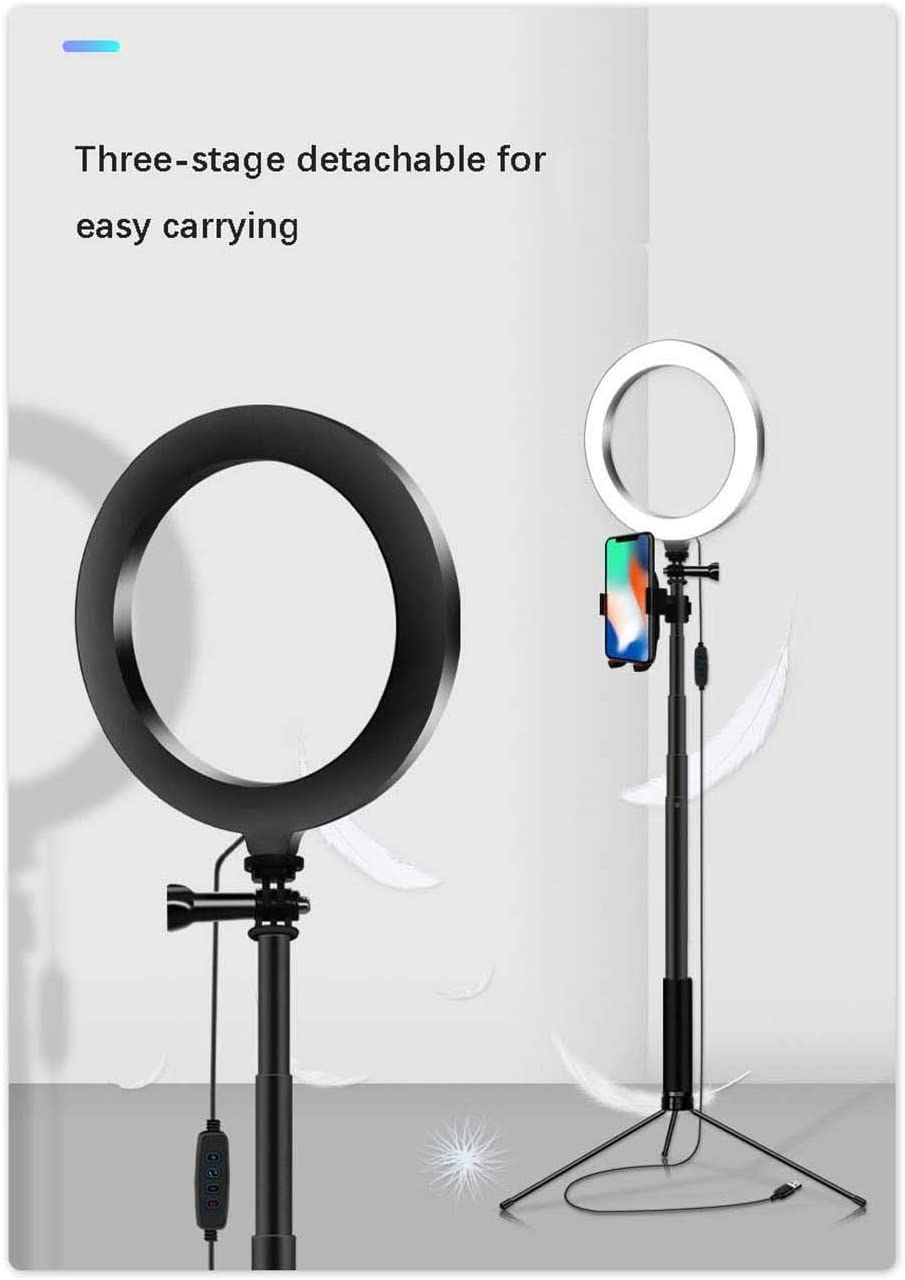 XYSQWZ LED Ring Light 8 Inch Desktop Makeup Ring Light with Tripod and Phone Stand for Live and YouTube Video Dimmable for Photography