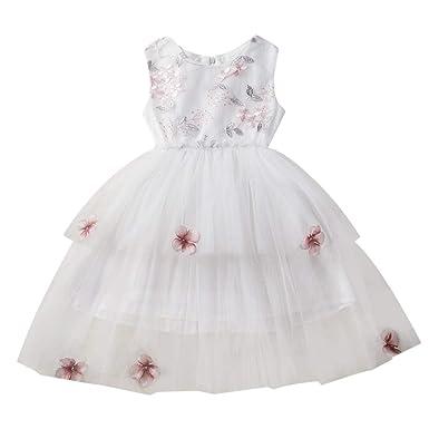 2546fe7f1d9c25 LUBITY Robe Enfant Fille Bébé Pageant de Mariage Robe de Tutu Tulle Col  Rond Robe sans Manches Fashion Party Party Princesse Robe Mini Taille Balle  ...