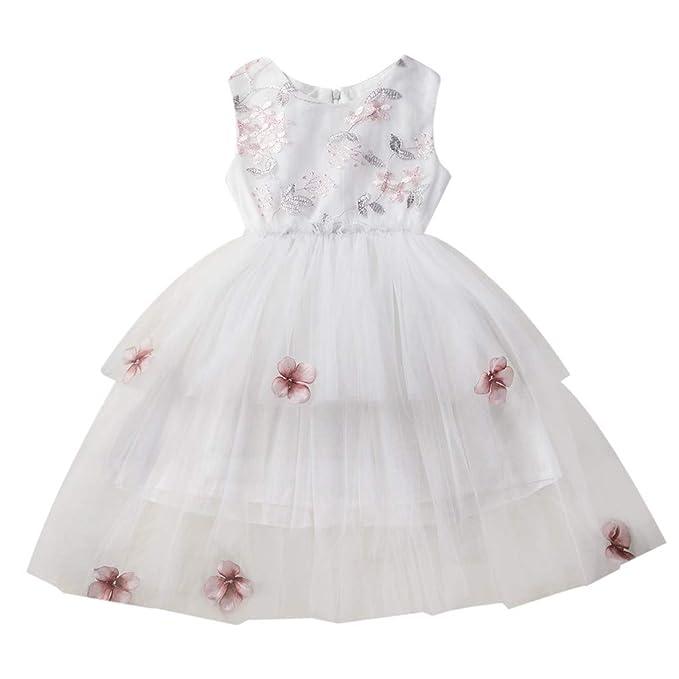 2712319b4 Vestido de Niña,Sin Mangas Flor Costura de Encaje Malla Vestido de Niña de  Flores