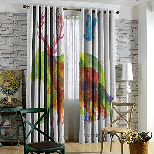 Animal Blackout Curtains - Gasket Insulation Alaska Wild Animals Bears Wolfs Eagles Deers in Abstract Colored Shadow Like Print Blackout Curtains for The Living Room W84 x L72 Inch Multicolor