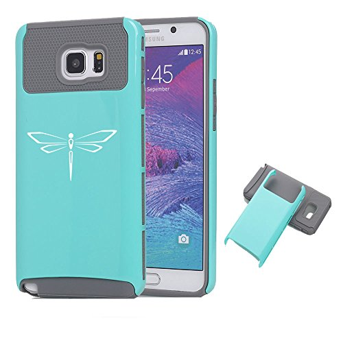 For Samsung Galaxy Note 5 Shockproof Impact Hard Case Cover Dragonfly (Teal-Grey)