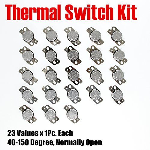MOONLIGHT-TECH Thermostat Kit 23Values x 1Pc Manual Reset 40-150 Degree Normally Open N/O KSD301 Temperature Controller Switch 250V/10A For Water Heater and other Electrical Maintenance