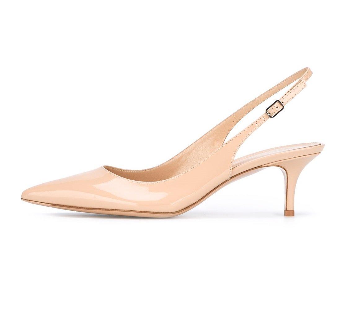 EDEFS Damen Kitten-Heel Slingback Pumps Spitze 6.5cm Mittlerer Absatz Pointed Toe Schuhe  36 EU|Nude