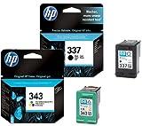 HP 337 / HP 343 Black / Tri-Colour Multipack - 2 Original Printer Ink Cartridges for HP Deskjet 5940 5943 6940 6980 D4145 D4155 D4160 D4163 D4168 Officejet 6300 6310 6313 6315 H470 K7100 K7103 K7108 Pro Photosmart 2570 2573 2575 8049 8050 8750 C4100 C4140 C4150 C4160 C4180 C4183 C4188 C4190 D5100 D5145 D5155 D5160 D5163 D5168