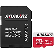 Micro SD Card 32GB, AUAMOZ Micro SDHC Class 10 UHS-I High Speed Memory Card for Phone, Tablet and PCs - with Adapter (Red/White)