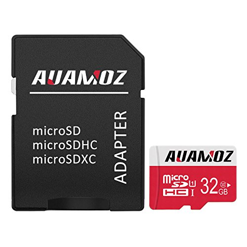 AUAMOZ Micro SD Card 32GB, MicroSDHC Class 10 UHS-I Card for Phone, Tablet and PCs – with Adapter (Red/White)