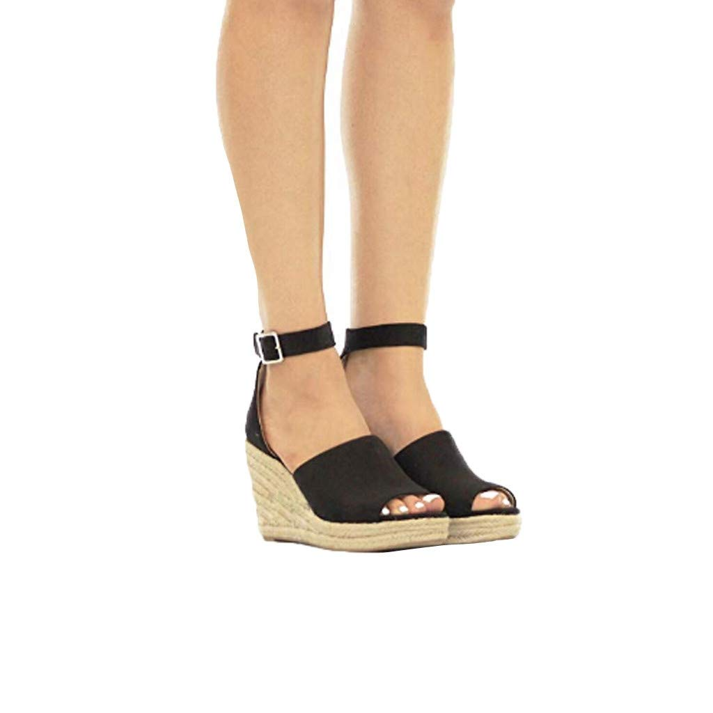 Sandals THENLIAN Womens Wedges Sandals Buckle Ankle Strap Sandals Fish Mouth Lady Breathable Clogs Shoes(43, Black)