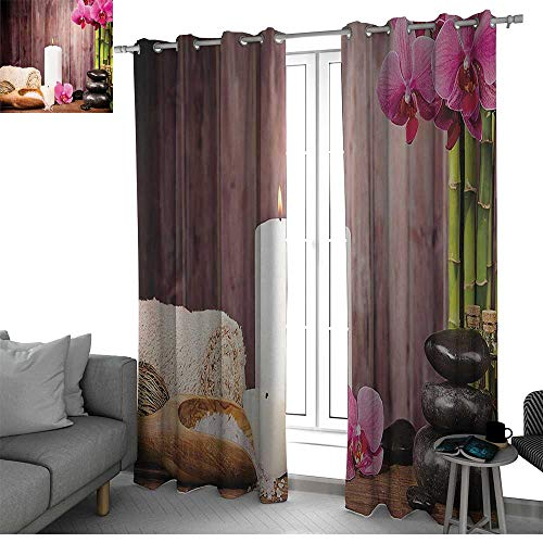 Benmo House Spa Decor Collection Curtains for Sliding Glass Door Spa Candlelight Plants Wooden Wall Sea Salt Treatment Freshness Relaxing Photography Curtain Holdback Pink Green Ivory W108 x L96 Inch ()