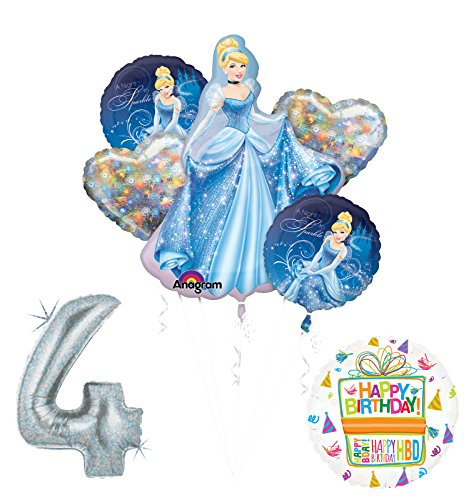 Mayflower Products Cinderella 4th Birthday Party Supplies and Princess Balloon Decorations
