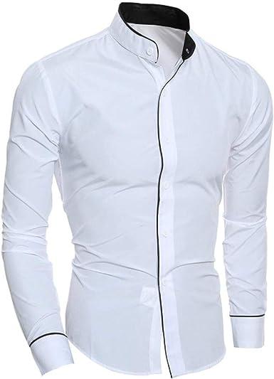 Botón De Manga Larga para Hombre Manga Camiseta De Camisas Larga De Negocios Años 20 Hombres Otoño Otoño Tops De Color Sólido Camisa De Negocios Blusa Delgada Larga: Amazon.es: Ropa y accesorios