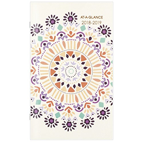 "AT-A-GLANCE Monthly Pocket Planner, January 2018 - January 2020, 3-5/8"" x 6-1/16"", 2 Year, Sun Dance (1051-021)"