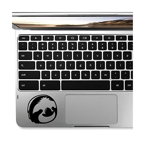 Stickany Palm Series Sloth Face Sticker For Macbook Pro, Chromebook, And Laptops (Black) -