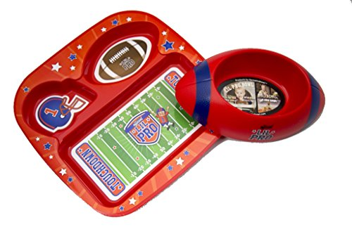 Lil Pro 1-30515 Football Pet Feeding Set, Red