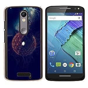 EJOOY---Cubierta de la caja de protección para la piel dura ** Motorola Moto X3 3rd Generation ** --Espacio Tierra Sci Fi futurista Planet