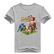 Custom Clash Of Clans Boy's Kids T-Shirt Gray L
