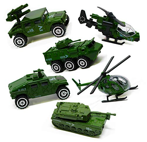 Smart Novelty Die-cast Army Vehicles Toy Set of 6 - Assorted Metal Military Vehicles Mini Army Toys Jeep, Helicopter, Panzer, Tank, Diecast Military Vehicles for Kids