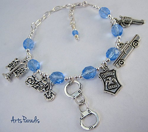 Police Officer Silvertone and Blue Charm Bracelet by ArtsParadis (Mounty Police)