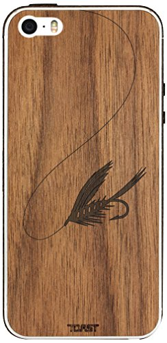 Case Fishing Fly (TOAST Real Wood Fly Fishing Cover for iPhone 5/5s - Retail Packaging - Walnut)
