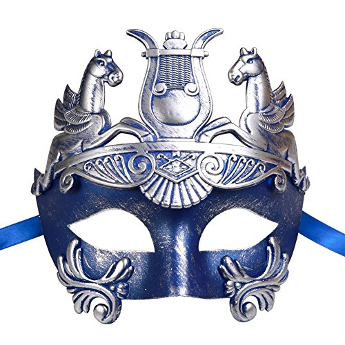[Xvevina Men's Mythological Roman Gladiator Ancient Greek Masquerade Mask (blue/silver)] (Hercules Costume Couple)