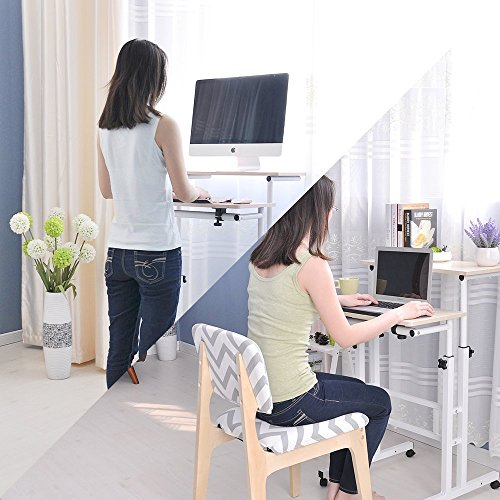 Soges Adjustable Mobile Stand Up Desk Computer Desk Workstation Sit-stand Desktop Standing Desk , White Maple Color 101-MP (Maple Office Table)