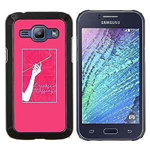 Cigarrillo Mujer rosas Pósteres- Metal de aluminio y de plástico duro Caja del teléfono - Negro - Samsung Galaxy J1 / J100