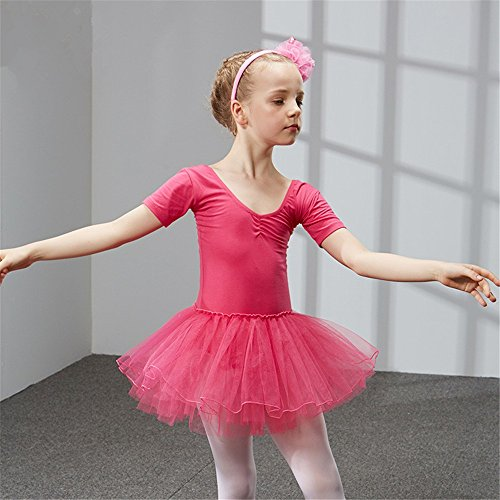 SJMMWD dance clothing Children Dance Costumes Children's dance costume, dancing performance, training dress for girls and ballet dresses for children,Rose red,120cm by SJMMWD