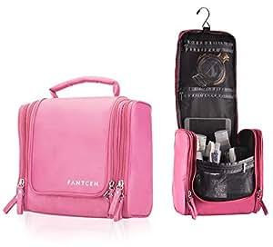 FANTCEN Toiletry Bag Pink Toiletry Kit for Men Women Hanging Toiletry Organizer Rugged with Mesh Pocket Travel Shower Bag Nylon