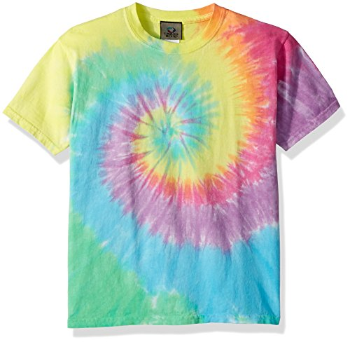 Liquid Blue Kids' Big Pastel Spiral Short Sleeve T-Shirt, tie/dye, Large